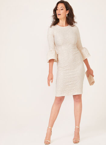 Betsy & Adam - Bell Sleeve Textured Dress, Off White, hi-res