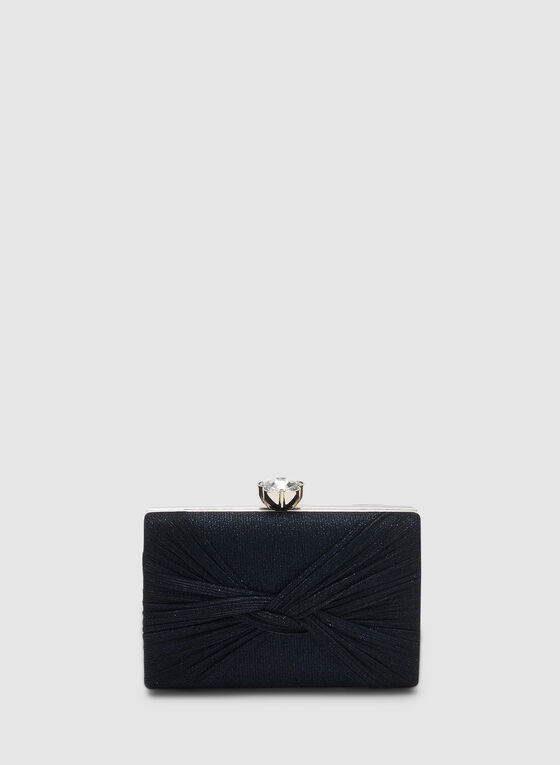 Rectangular Glitter Box Clutch, Blue