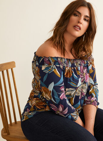 Floral Print Off-The-Shoulder Top, Blue,  Canada, top, off-the-shoulder, 3/4 sleeves, floral print, spring 2020, summer 2020