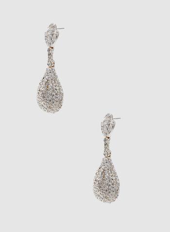 Crystal Teardrop Earrings, Silver, hi-res,  crystal, earrings, spring 2019