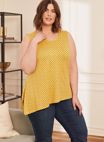 Asymmetric Sleeveless Top, Yellow,  spring summer 2021, tops, blouse, no sleeves, crew neck, geometric pattern