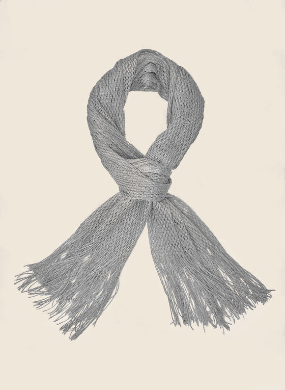Honeycomb Knit Scarf, Silver
