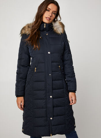 Chillax - Faux Down Quilted Coat, Blue, hi-res,  Chillax, coat, outerwear, faux down, quilted, removable hood, faux fur, fall 2019, winter 2019