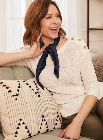 Pleated Neckerchief, Blue,  accessories, scarf, lightweight, neckerchief, pleated, spring summer 2021