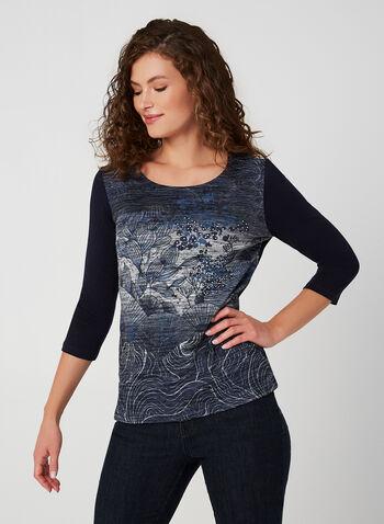 Haut floral à manches ¾, Bleu, hi-res,  automne hiver 2019, haut, chandail, manches longues, tricot, fleurs, fleuri, motif, imprimé, manches ¾, cristaux