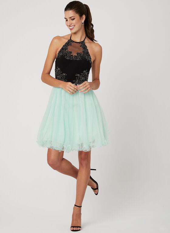 Fit & Flare Mesh Dress, Black, hi-res