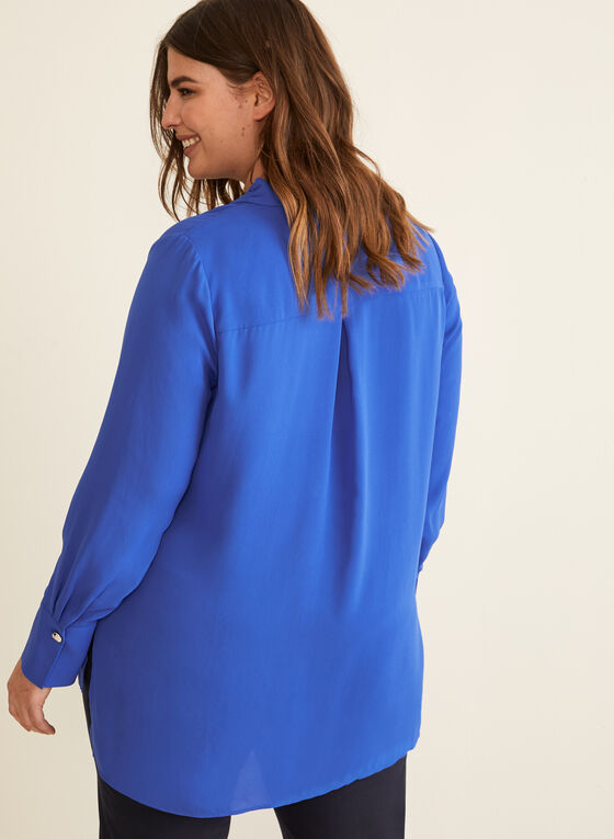 Long Sleeve Crepe Blouse, Blue
