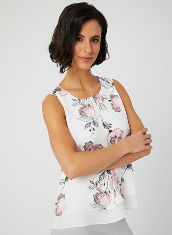 Floral Print Crepe Top, White, hi-res