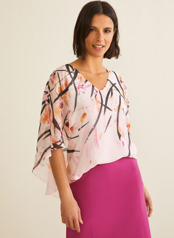Cape Style Blouse, Purple,  3/4 sleeves, v-neck, chiffon, camisole, floral print