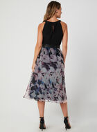 Floral Print Cleo Neck Dress, Black, hi-res