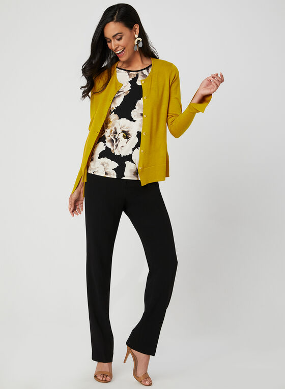 Floral Print Jersey Top, Black, hi-res