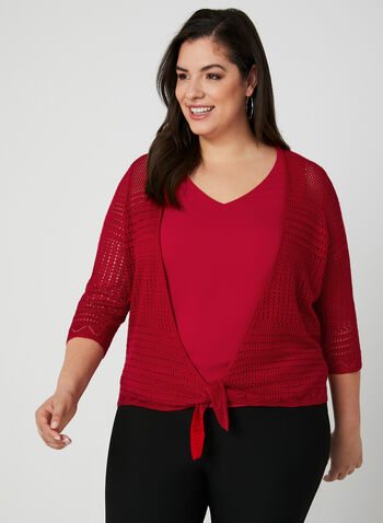 Pointelle Cardigan, Red, hi-res