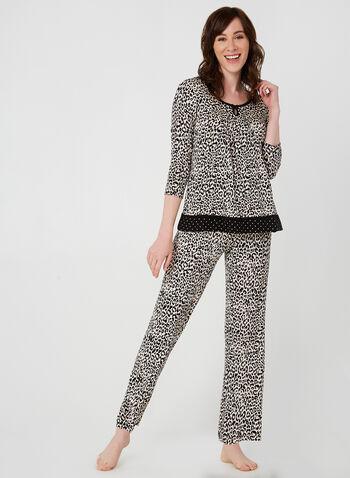 René Rofé - Two-Piece Pyjama Set, Brown,  pyjama, sleepwear, animal print, fall 2019, winter 2019
