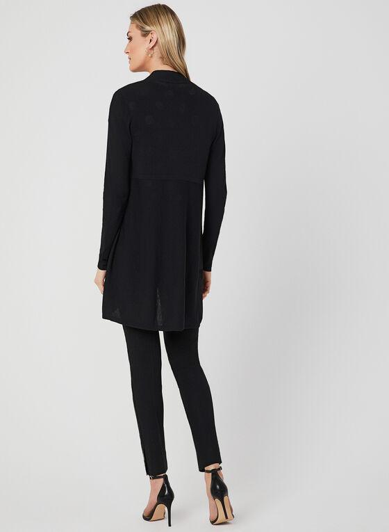 Knit Open Front Cardigan, Black, hi-res
