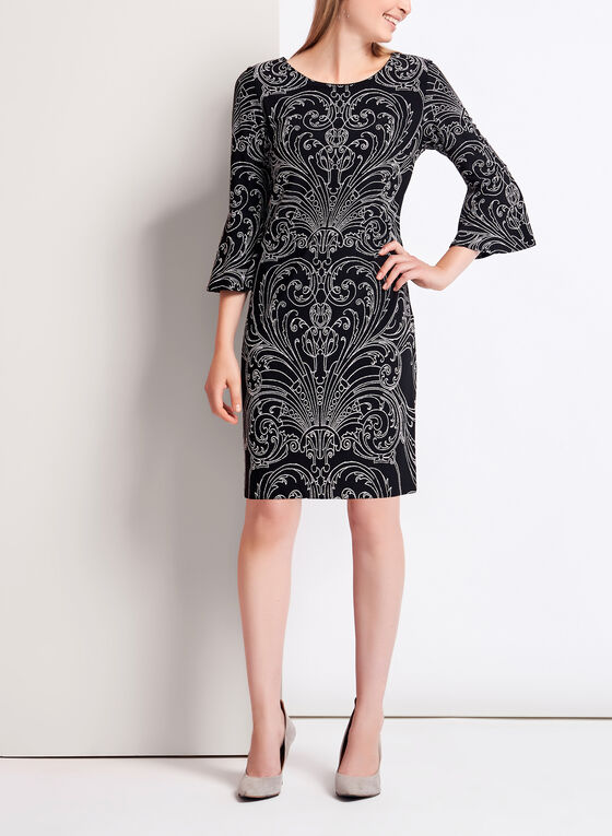 ¾ Bell Sleeve Vintage Print Jersey Dress , Black, hi-res