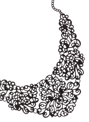 Lace Effect Filigree Bib Necklace, Black, hi-res