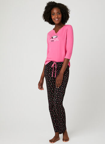 René Rofé - Heart Print Pyjama Set , Grey, hi-res