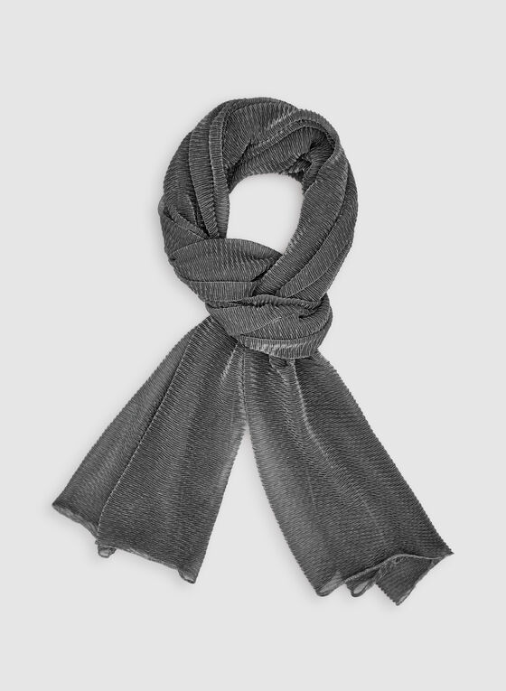 Pleated Glitter Scarf, Black, hi-res