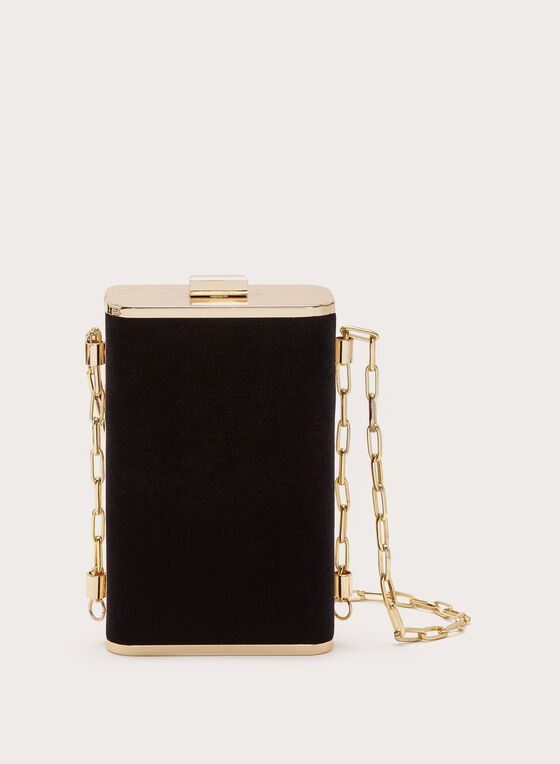 Beaded Velvet Clutch, Black, hi-res