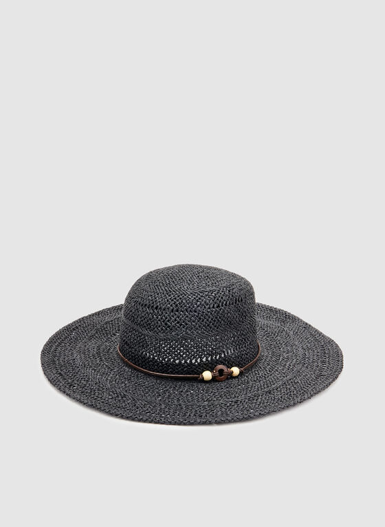 Wide Brim Straw Hat, Black