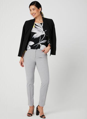 Floral Print Angel Sleeve Top, Black, hi-res,  jersey, ¾ sleeves, spring 2019