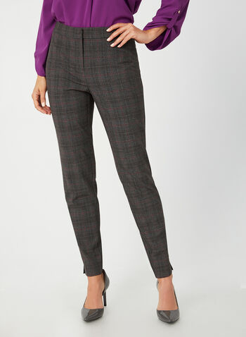 Modern Fit Straight Leg Pants, Grey,  plaid print, mid rise, ankle length, contour waist, shaped hips, fall 2019, winter 2019