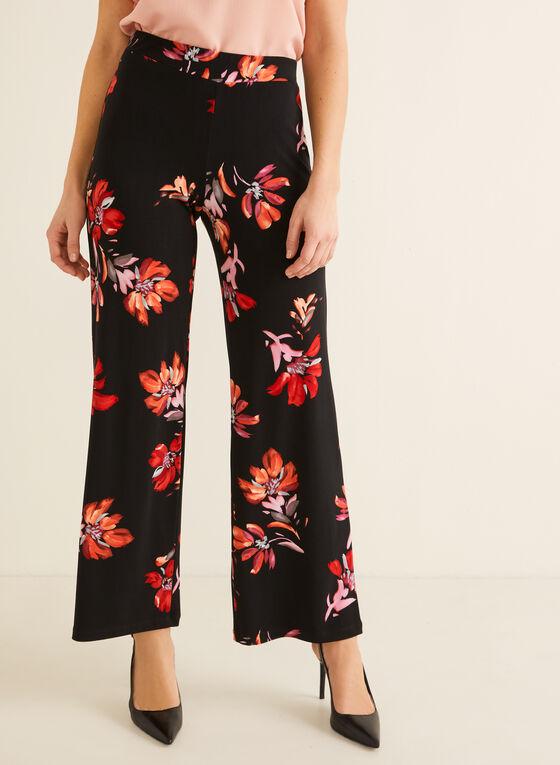 Pantalon fleuri à jambe large, Noir