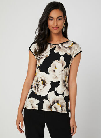 Floral Print Jersey Top, Black,  Canada, floral print, top, drop shoulder, jersey, fall 2019, winter 2019