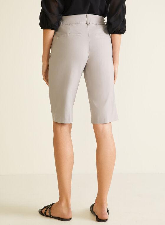 Pleated Pull-On Bermuda Shorts, Grey