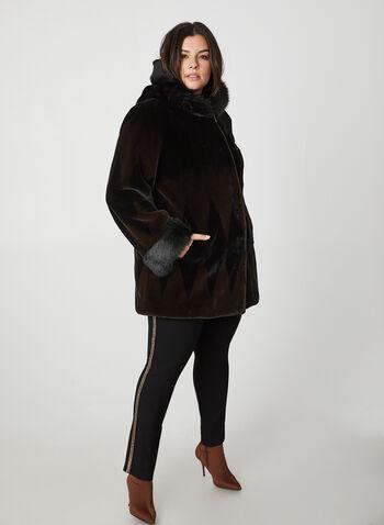 Nuage - Two Tone Faux Fur Coat, Black, hi-res,  coat, faux fur coat, faux fur, hood, winter coat, fall 2019, winter 2019