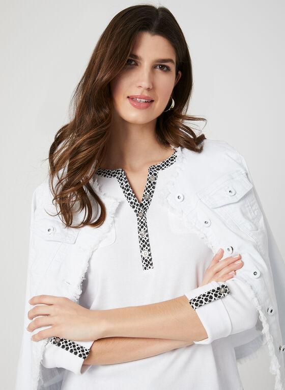 Haut à manches ¾ et détails boutonnés, Blanc, hi-res
