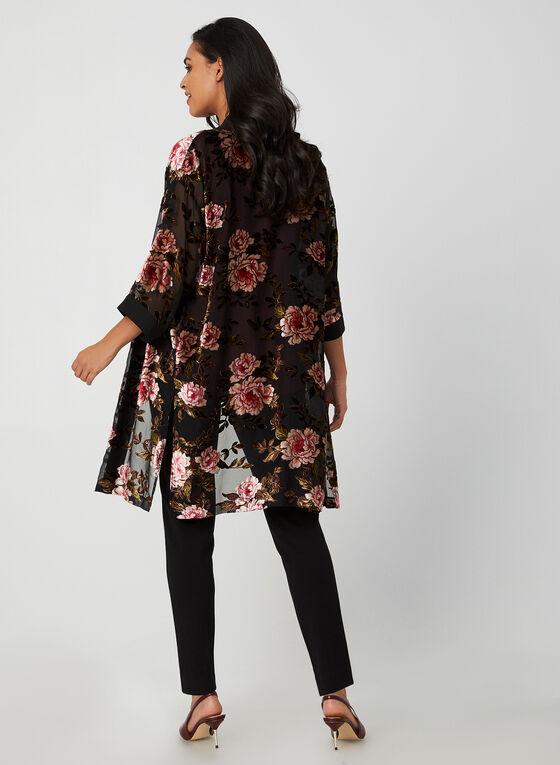 Kimono fleuri ouvert, Noir
