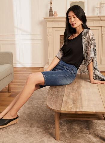 Embellished Pull-On Capri Shorts, Blue,  spring summer 2021, capri, capris, shorts, embellish, details, pockets, pull on