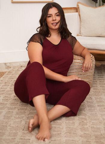 Contrast Sleeve Pyjama Set, Red,  fall winter 2021, sleepwear, bedtime, pyjama set, pajama set, nightshirt, Made in Canada, crew neck, scoop neck, boat neck, dotted, long sleeves,