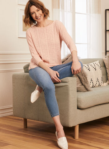 Scalloped Hem Sweater, Pink,  sweater, knit, ribbed, boat neck, 3/4 sleeves, scalloped, stretchy, spring summer 2020