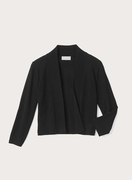 Chevron ¾ Sleeves Bolero, Black, hi-res