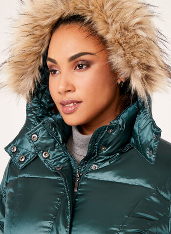 Hooded Faux Fur Down Coat, Green, hi-res