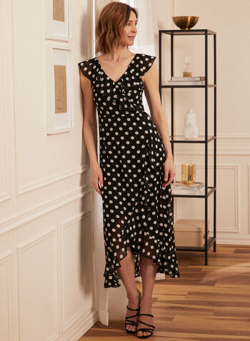 Polka Dot Faux Wrap Dress, Black,  day dress, polka dot, short sleeves, ruffles, tulip hemline, faux wrap, spring summer 2020