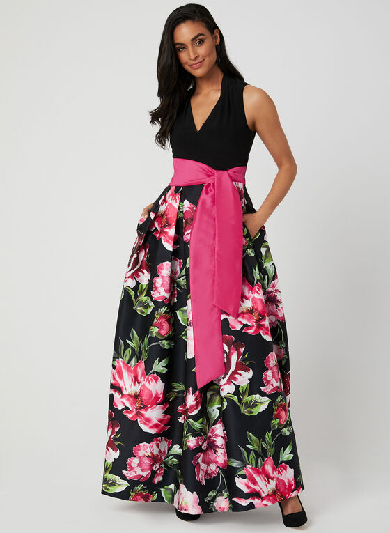 Floral Print Satin Ball Gown, Black, hi-res