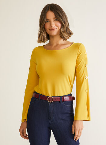 Button Detail Flare Sleeve Top, Yellow,  fall winter 2020, top, long sleeves, flared, scoop neck, cutout, buttons, crepe fabric, made in Canada