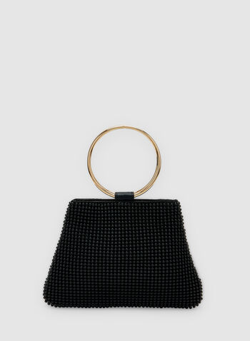Beaded Clutch, Black, hi-res,  Spring 2019, ring handle