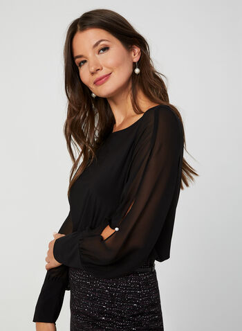 Chiffon Sleeve Top, Black, hi-res,  Canada, top, long sleeves, chiffon sleeves, pearl, fall 2019, winter 2019