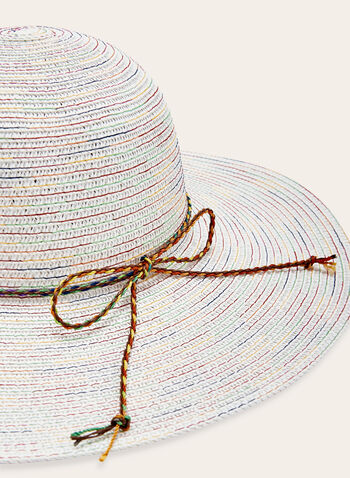 Large Straw Hat With Delicate Cord Detail, White, hi-res