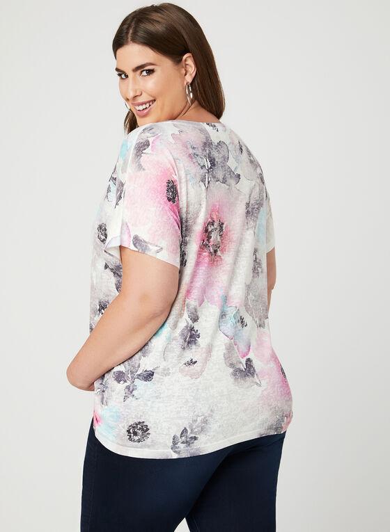 T-shirt à motif floral avec cristaux, Multi, hi-res
