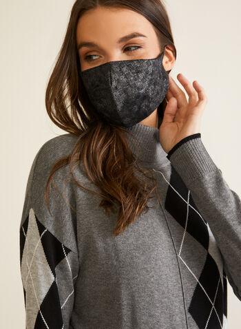 Masque en tissu à motif hachuré, Argent,  automne hiver 2020, masque, tissu, réutilisable