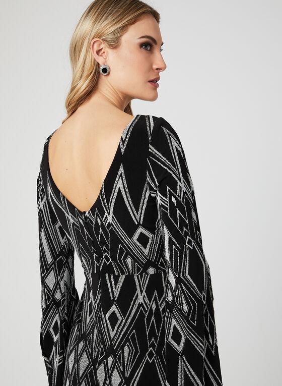 Robe en jersey au motif art déco et effet pailleté , Noir, hi-res