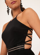 Robe taille perlée avec dos nageur entrelacé, Noir, hi-res