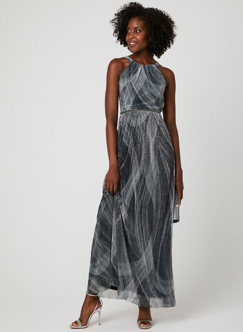 Metallic Fibre Cleopatra Neck Dress, Silver, hi-res