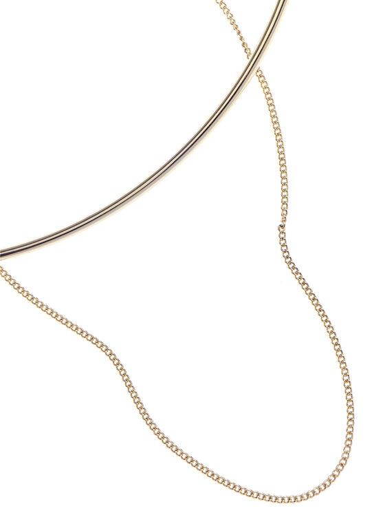 Collier design double, rigide et souple, Or, hi-res