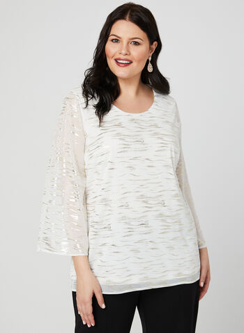 Metallic Foil Print Blouse, White, hi-res